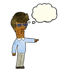 Cartoon man in glasses pointing with thought vector