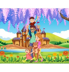 Family standing in the park vector