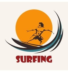 Surfing man emblem vector