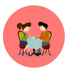 a man and woman asking each other vector image vector image