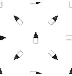 Baby milk bottle pattern seamless black vector