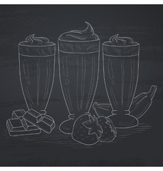 Banana strawberry and chocolate smoothies vector image