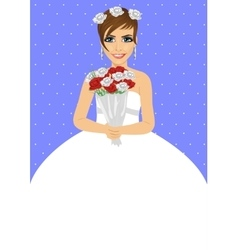 Beautiful bride holding bouquet of roses vector image