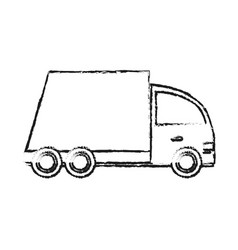 blurred silhouette cartoon transport truck with vector image