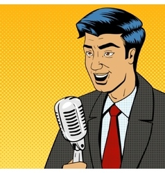 Businessman with microphone pop art vector