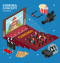 cinema concept movie interior auditorium isometric vector image vector image
