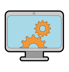 Computer display with gears vector