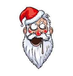 Crazy santa head vector