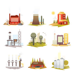 Different industrial factory buildings and plants vector