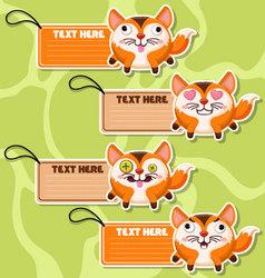 Four cute cartoon Foxs stickers vector image vector image