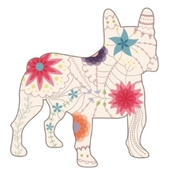 French bulldog painted silhouette vintage vector
