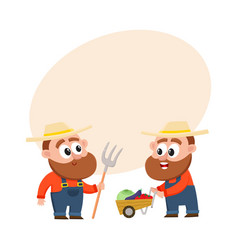 funny farmers harvesting vegetables holding vector image vector image