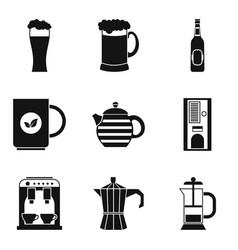 glass with beer icons set simple style vector image vector image