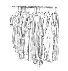 Hand drawn wardrobe Clothes sketch vector image vector image