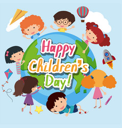 happy childrens day poster with happy kids around vector image