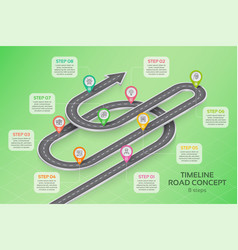 isometric navigation map infographic 8 steps vector image vector image