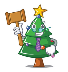 Judge christmas tree character cartoon vector