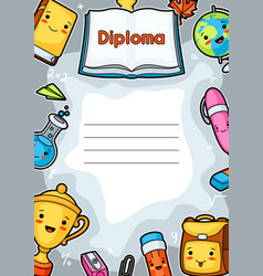 kawaii school diploma with cute education supplies vector image vector image