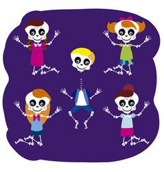 little skulls jumping vector image vector image