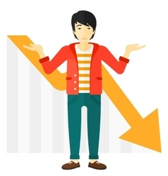 Man with declining chart vector