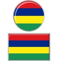 Mauritius round and square icon flag vector