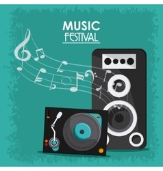 Music note speaker vinyl sound media festival icon vector