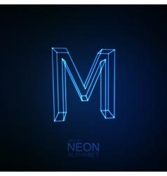 Neon 3d letter m vector