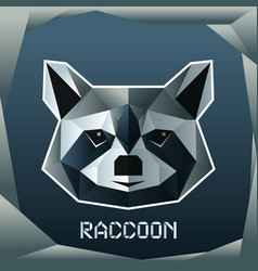 origami raccoon head vector image