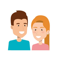 portrait young couple smiling character people vector image