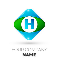 Realistic letter h logo in colorful rhombus vector