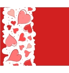 Red background with hearts for Valentine s Day vector image vector image