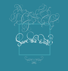 Save the date text in frame on blue background vector