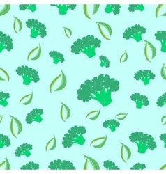 Seamless pattern broccoli and peas vector image