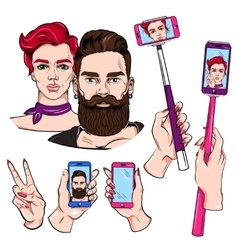 Selfie sketches set vector