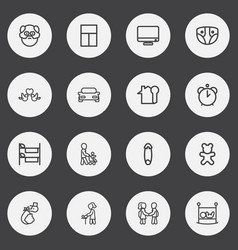Set of 16 editable kin outline icons includes vector