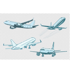 Set of passenger airplanes vector
