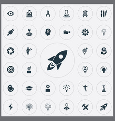 Set of simple creative thinking icons elements vector