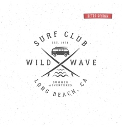 Set of vintage surfing graphics and emblem for web vector