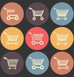 Shoping cart flat icon set in color circles vector