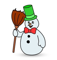 Snowman on white background vector image vector image
