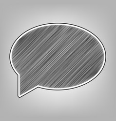 speech bubble icon pencil sketch vector image