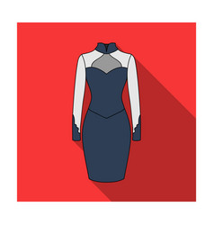 strict two-color female dress to the knee dresses vector image