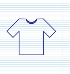 t-shirt sign navy line icon vector image