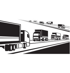 trucks transporting goods on the road vector image vector image