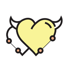 Twins heart devil pen tool style yellow vector