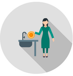 Woman washing dishes vector