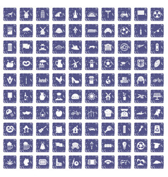 100 mill icons set grunge sapphire vector