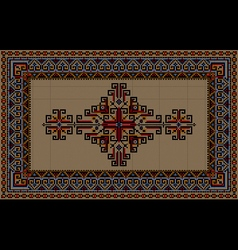 Vintage carpet with ethnic ornament on a beige vector image