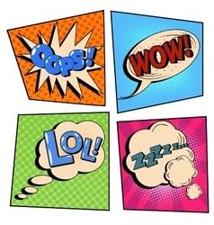 Vintage pop art comic speech bubble set vector