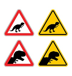 Warning sign of attention dinosaur dangers yellow vector